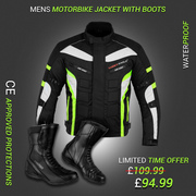 Green 6 Packs Design Jacket with Touring high ankle Boots